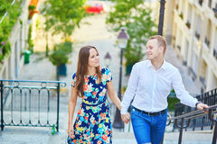 Young romantic couple having a date in Paris, France Stock Photos