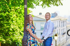 Young romantic couple having a date in Paris, France Royalty Free Stock Photos