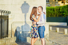 Young romantic couple having a date in Paris, France Stock Images