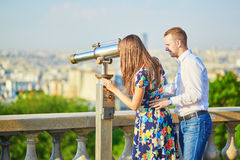 Young romantic couple having a date in Paris, France Royalty Free Stock Image