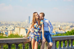 Young romantic couple having a date in Paris, France Royalty Free Stock Photo