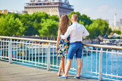 Young romantic couple having a date in Paris Royalty Free Stock Photography