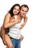 Young romantic couple having fun in studio Stock Photos