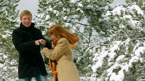 Young Romantic Couple Having Fun In Winter Park stock video