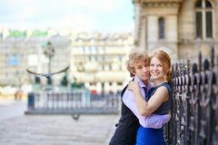 Young romantic couple outdoors in Paris Stock Photo