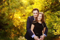Young romantic couple outside bonding Royalty Free Stock Photography