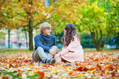 Young romantic couple in Paris Royalty Free Stock Image