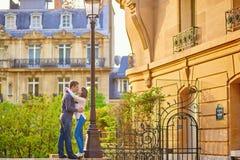 Young romantic couple in Paris. Having fun near the Eiffel tower Stock Photos