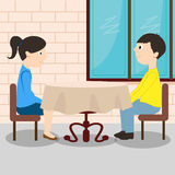 Young romantic couple sitting at the table. A girl with a man is sitting in a restaurant vector illustration