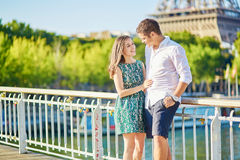 Young romantic couple spending their vacation in Paris Royalty Free Stock Images