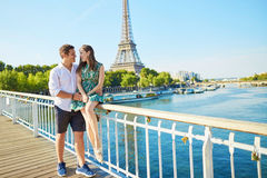 Young romantic couple spending their vacation in Paris Royalty Free Stock Photo