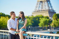 Young romantic couple spending their vacation in Paris Stock Images