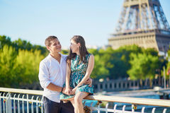 Young romantic couple spending their vacation in Paris Stock Image