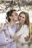 Young romantic couple in spring blossom Stock Photo