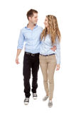 Young romantic couple walking Stock Image