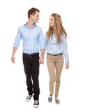 Young romantic couple walking Royalty Free Stock Photos