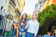 Young romantic couple walking on Montmartre Royalty Free Stock Image
