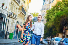 Young romantic couple walking on Montmartre Stock Images