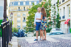 Young romantic couple walking on Montmartre Stock Image