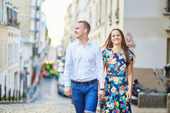 Young romantic couple walking on Montmartre Stock Photos
