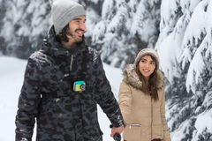 Young Romantic Couple Walking In Snow Forest Outdoor Mix Race man And Woman Holding Hands Stock Photography