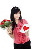 Young romantic girl with Valentines card Stock Photography