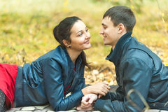 Young romantic happy couple on autumn picnic Stock Photography