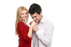 Young romantic  man kissing his girl's hands Stock Photos