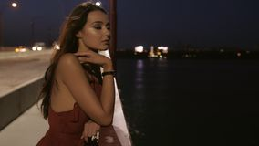 Beautiful tourist woman in night city. Young romantic tourist woman standing on bridge against ligths of night city background. Sexy beautiful young mixed race stock video