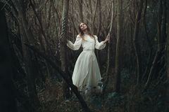 Young romantic woman in desolate forest stock images