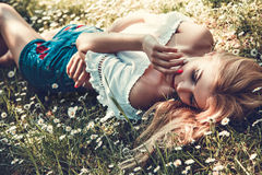 Young Romantic Woman In The Grass royalty free stock photos