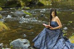 Young Romantic Woman Reading Stock Photos