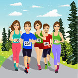 Young runners running a marathon competition Stock Image