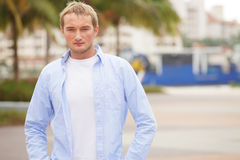 Young Russian male model. Image of a Russian male model posing in a Miami park Stock Photography