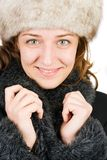 Young russian woman. Portrait of an attractive young russian woman in winter coat, isolated on white background Stock Images