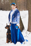 Young russian woman with dog Stock Images