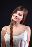Young russian woman in linen cloth with lace Royalty Free Stock Images