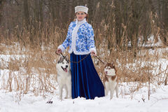 Young russian woman with two dogs Stock Photo