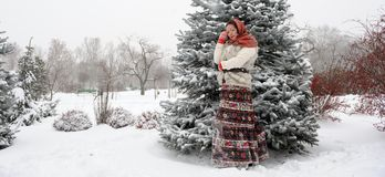 Young Russian woman in winter park Royalty Free Stock Photos