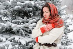 Young Russian woman in winter park royalty free stock images