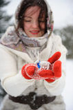Young Russian woman in winter park Royalty Free Stock Image