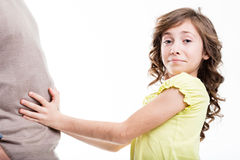 Young sad girl with father Royalty Free Stock Photography