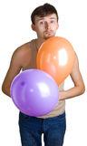 Young sad men with balloons Royalty Free Stock Image