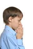 Young sad praying boy standing isolated Stock Photography
