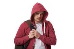 Young sad teenage boy  isolated on white background Royalty Free Stock Photography