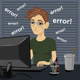 Young sad teenager confused and being in bad temper with error message on computer Royalty Free Stock Photos