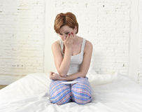 Young sad woman crying frustrated after checking negative or positive pregnancy test Stock Images