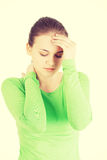 Young sad woman have big problem Stock Images