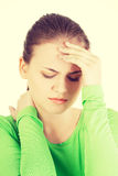 Young sad woman have big problem Royalty Free Stock Image