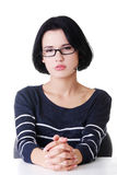 Young sad woman, have big problem or depression Stock Images